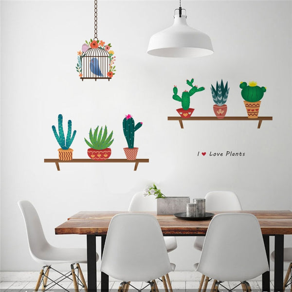 Garden Plant Flying Birds Birdcage Wall Sticker