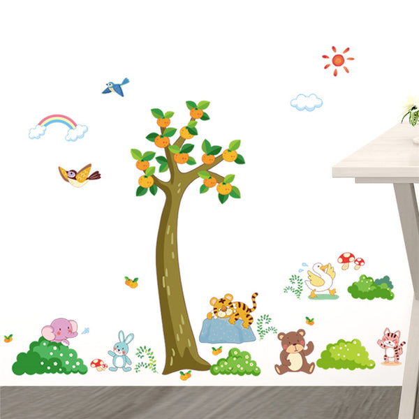 Jungle Wild Forest Tree Animals Tiger Bear wall stickers