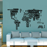 60*90cm Quote Removable Letter World Map Vinyl Decal
