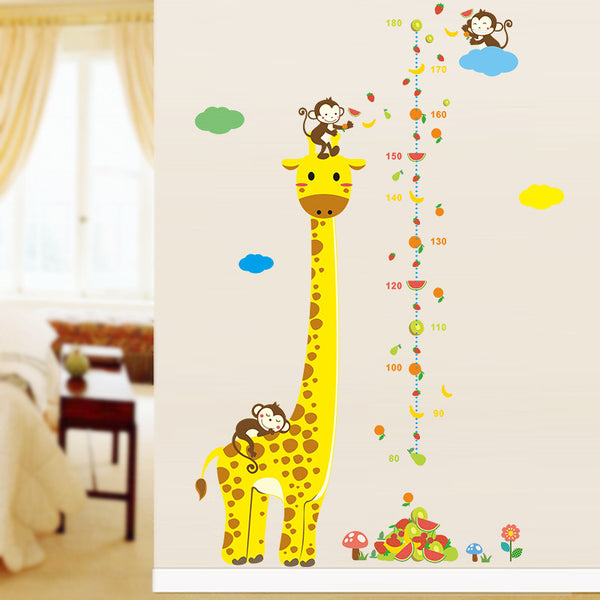 Cartoon Measure Wall Stickers For Kids Rooms Giraffe Monkey Height Chart Ruler