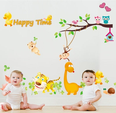 The owl cartoon background children room decoration can remove the wall stickers