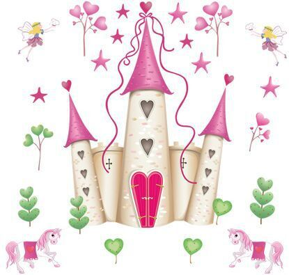 Pink Princess Castle Girl room Tower Wall sticker