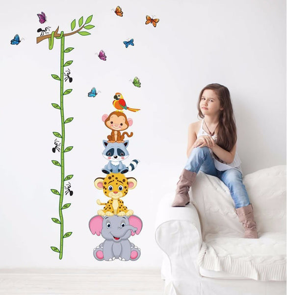 Cute tiger animals stack height measure wall stickers decal kids adhesive vinyl wallpaper