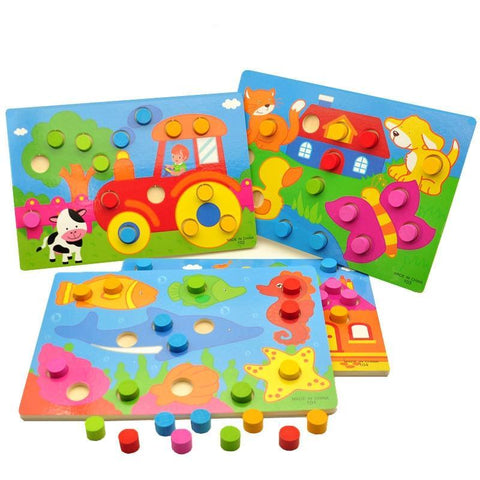 Wooden Toys Tangram/Jigsaw Board Cartoon Puzzle