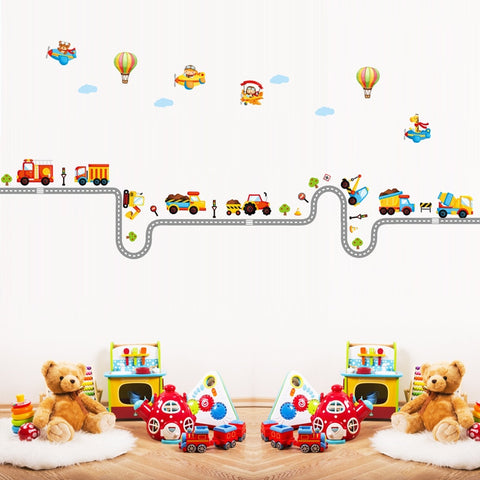 The kindergarten children room decoration on the wall Cartoon car stickers