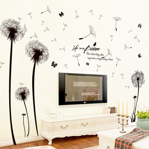 Black Romantic Dandelion PVC Wall Sticker