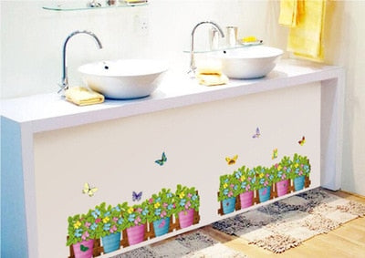 corridor Flowers and butterflies fence The line that play wall stickers