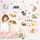 Colorful Cute Cats playing wall stickers