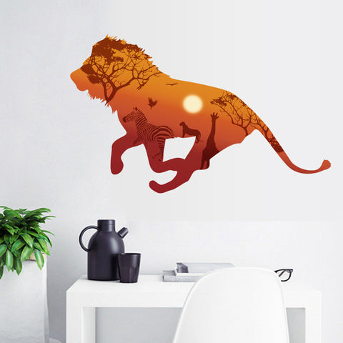 Lion silhouette Animal 3D wall stickers