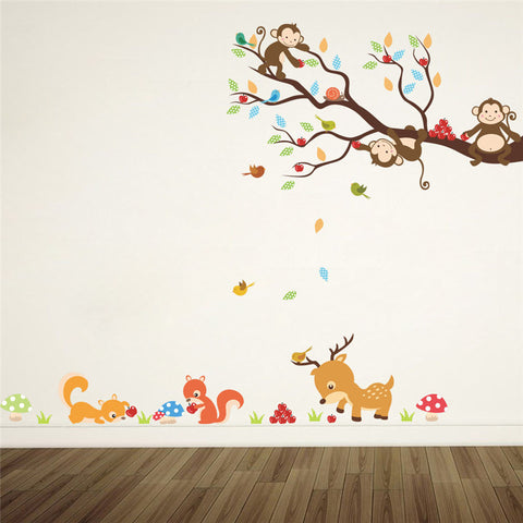 cartoon forest tree animal monkey deer squirrel wall stickers