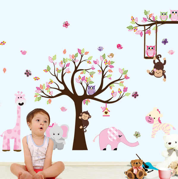 Latest XXL Cartoon Animals Zoo Owl Butterfly Monkey Wall Stickers