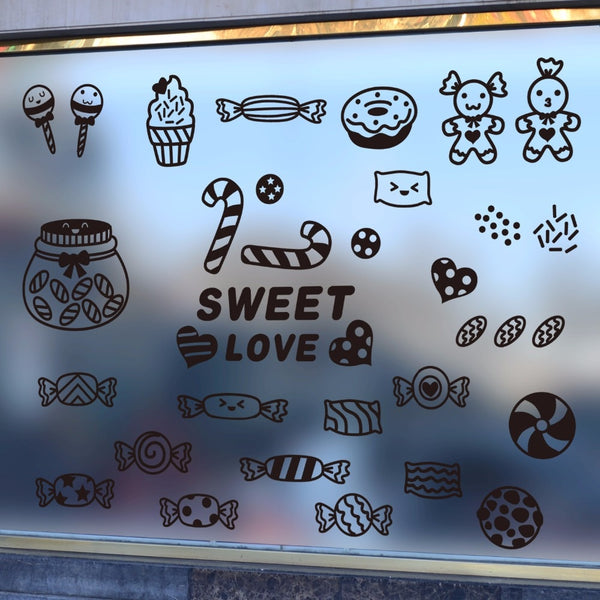 Cartoon creative candy shop stickers