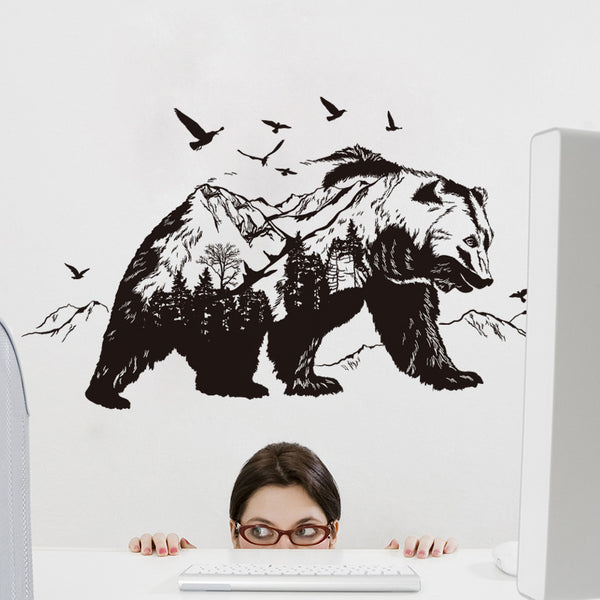 Mountain black bear Transparent film living room bedroom wall stickers