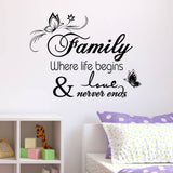 "Modern PVC Characters""Faminly never ends"" Wall Stickers"