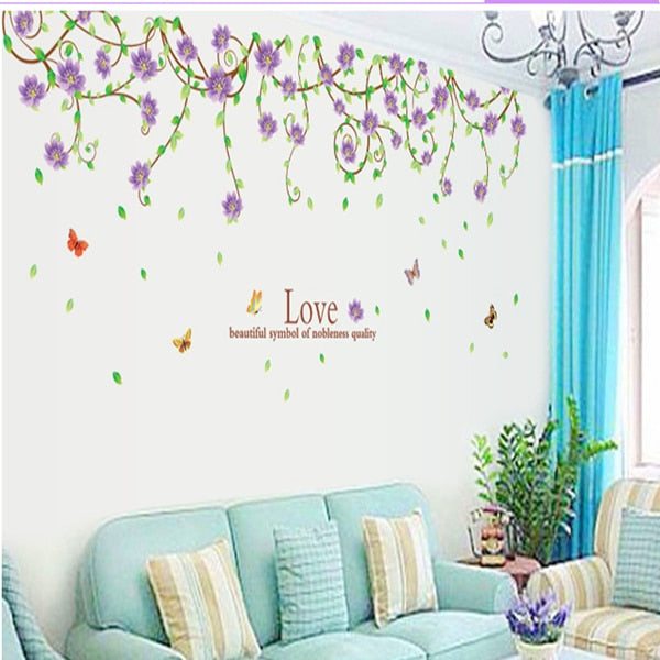 New purple flower cane wall stickers