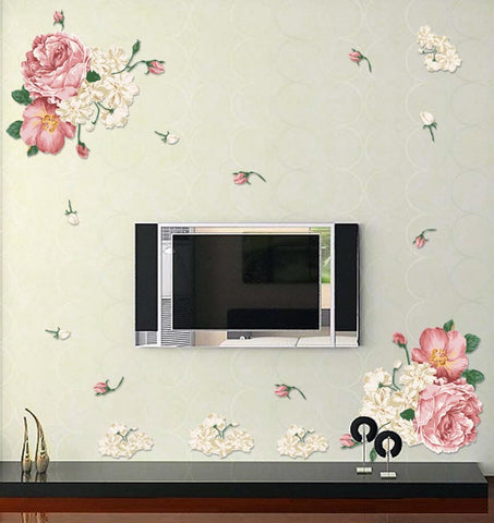 classic The riches and honor peony wall stickers