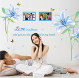 The new wall stick blue lilies decoration