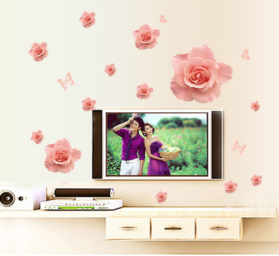 Meet love pink roses The trumpet wall stickers