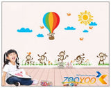 Large Size 80*140cm Monkeys Playing 3D Pvc Wall stickers
