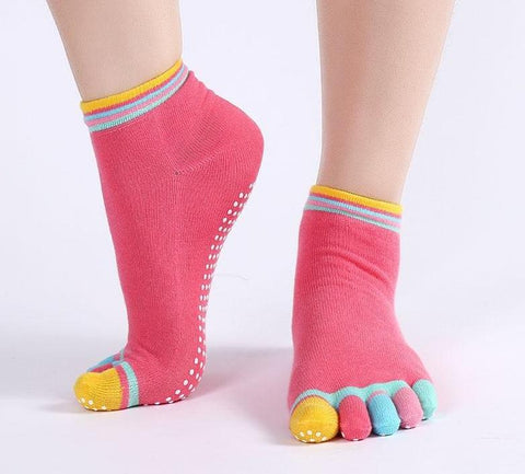 Anti-slip Ladies Colorful Cotton Toe Socks