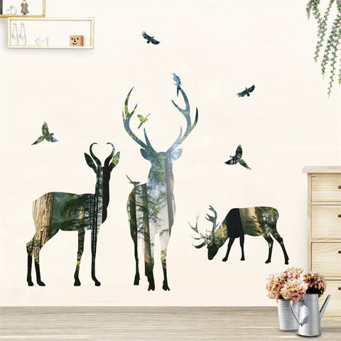 forest deer flying birds wall stickers