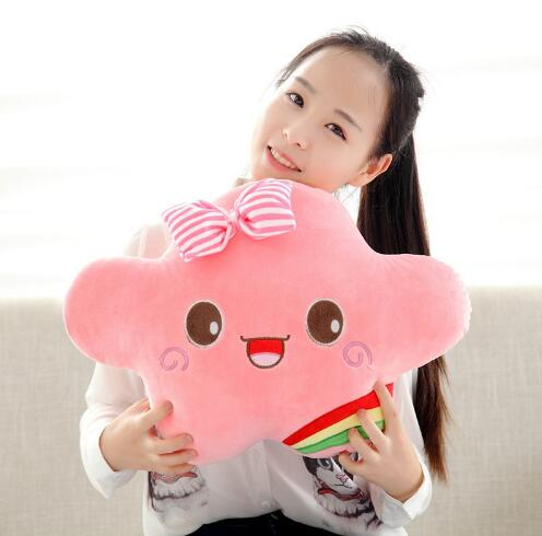 Soft Plush Smiley Face Cloud Pillow Stuffed Cushion