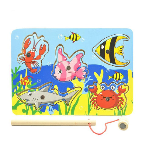 Kids Wooden Toys Educational Learning Wood Magnet Fishing Game