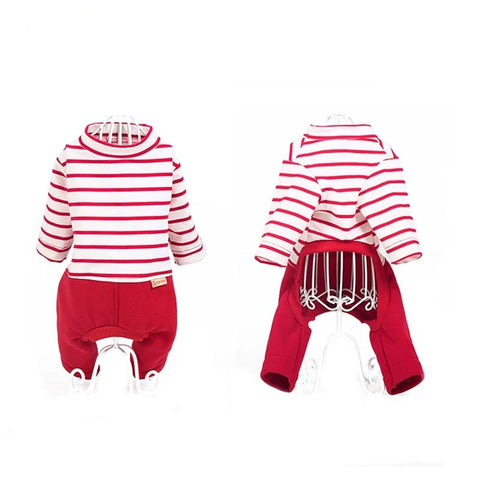 Pet Cartoon Red Striped Cotton Pajamas Small Dog
