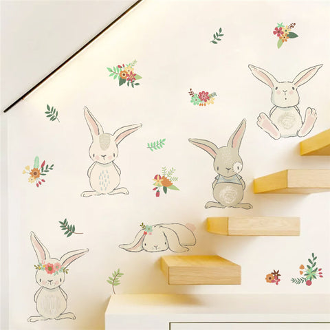 cartoon rabbit flower wall sticker