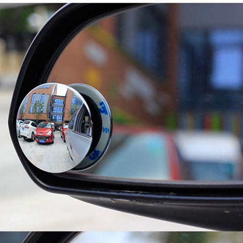 2pcs 360 Degree Rotable Rimless Universal wide angle Round blind spot mirror