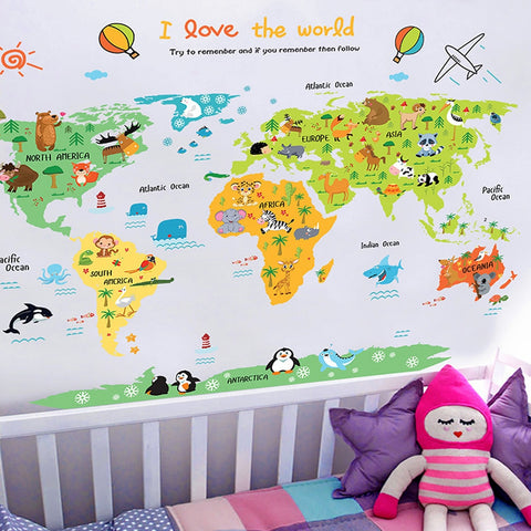 Cartoon world map PVC DIY Self Adhesive Vinyl Wall Stickers