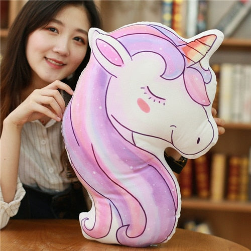 Cartoon Unicorn Plush Pillow Stuffed Animal Horse Toys for Children Kawaii Sofa Cushion Office Nap Pillow Gift for Girl