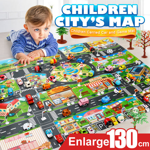39Pcs City Map Car Toys Model Crawling Mat Game Pad for Children Interactive Play House Toys