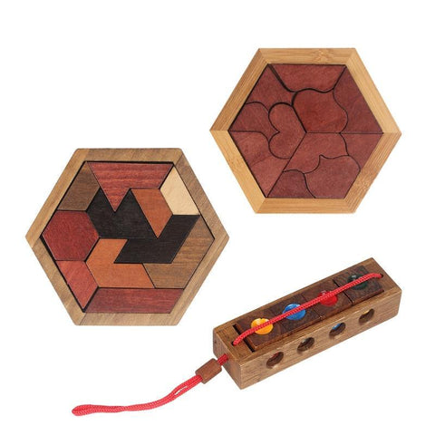 Funny Puzzles Wood Geometric Abnormity Shape Puzzle Wooden Toys