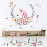 cartoon Unicorn petal birds large wall stickers