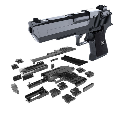 DIY Gun Building Blocks Toy Desert Eagle Assembly Toy Brain Game Model with Instruction Book