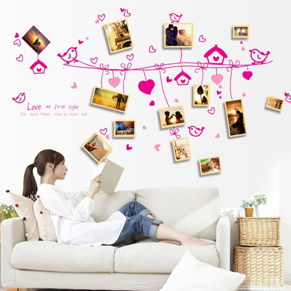 Birds love cartoon picture frame wall stickers
