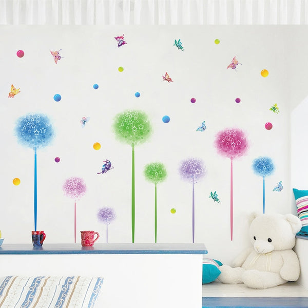 Colored floral wall stickers