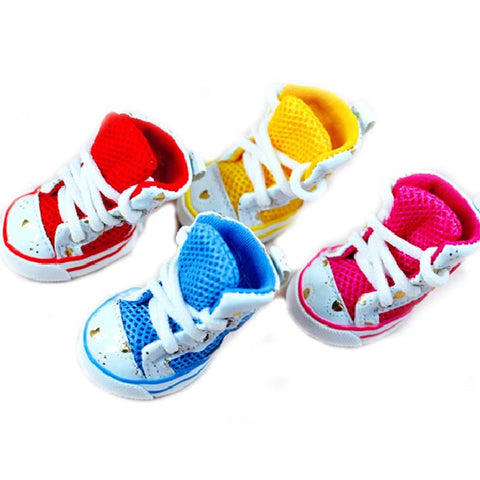 4PCS/lot Shining Love Mesh Shoes For Dogs