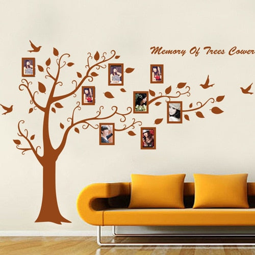 Family Tree Photo Frames on the Tree Branches and Soaring Birds Wall Stickers