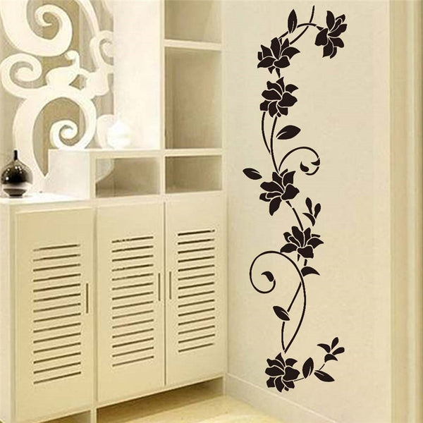 Black flower Vine Wall Stickers Refrigerator Window cupboard