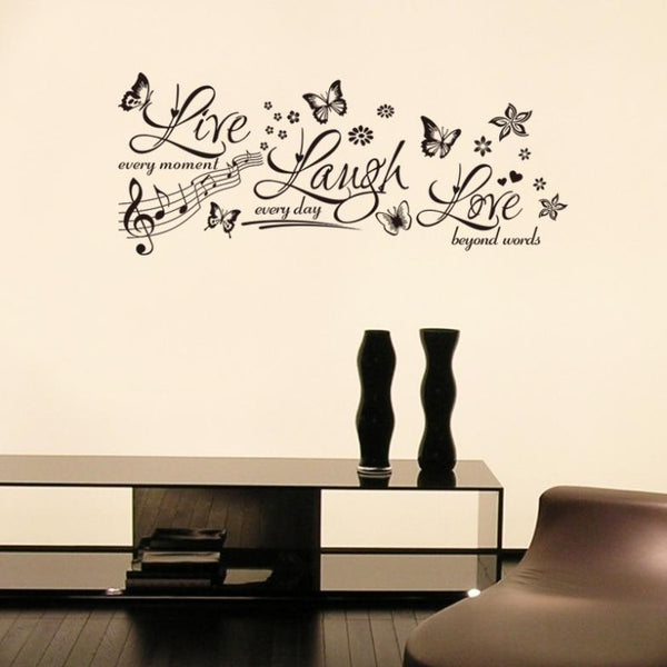 Hot Sale Butterfly And Flower Live Laugh Wall Stickers