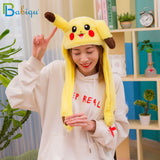 Funny Pikachu and Rabbit Hat with Ears Moving Plush Toy