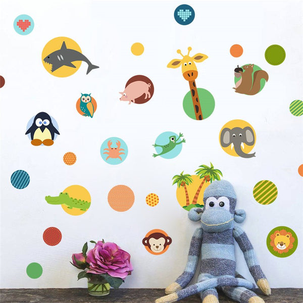 Cartoon Animal Through Wall Sticker