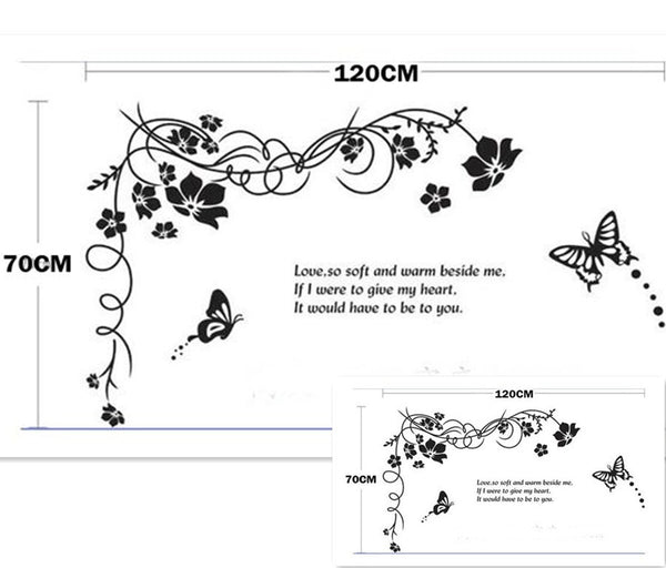 Big Wall Sticker Black Flower Vine Butterfly