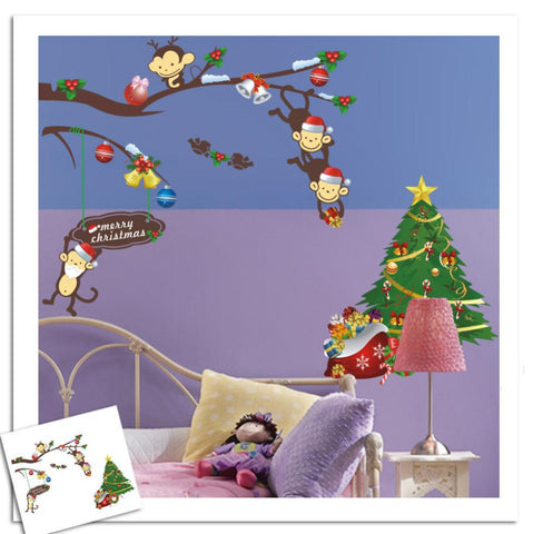 Foreign Trade Cheeky Monkey Christmas Tree Gift Paster Wall Stickers