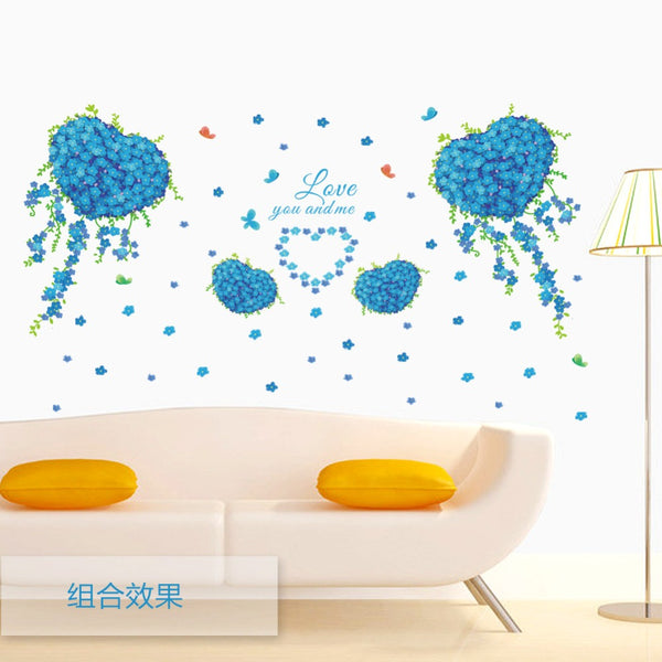 Wall stickers blue butterfly love clovers