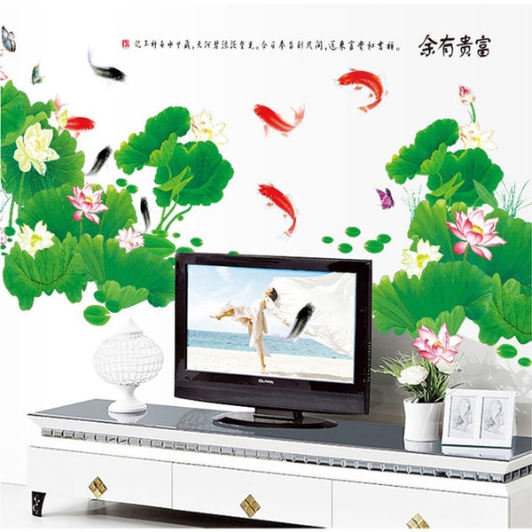 Chinese rich large sticker Lotus wall sticker