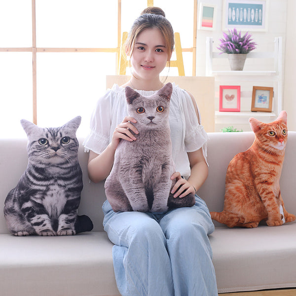 Simulation Plush Cat Pillows Soft Stuffed Animals