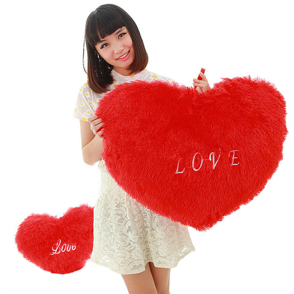 New Hot Rose Velvet Peach Heart Plush Pillow